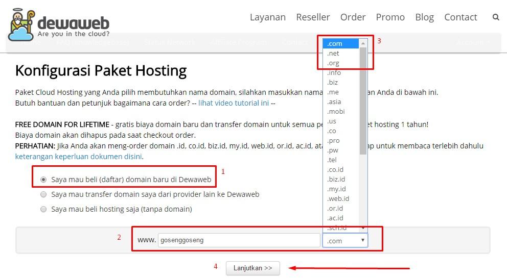 Konfigurasi paket hosting dan domain