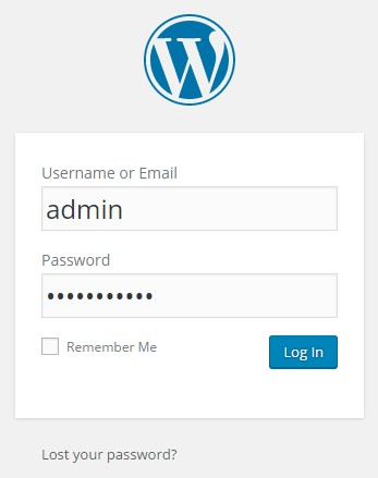 Log in admin wordpress