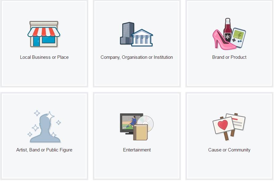 Pilih kategori fanspage