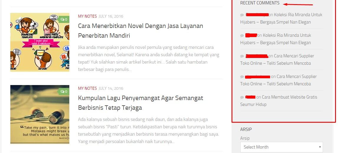 Tampilan widget recent comments pada website