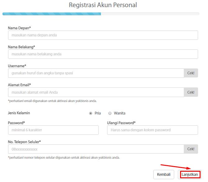 3. Registrasi Akun Personal Dulu Dan Lanjutkan