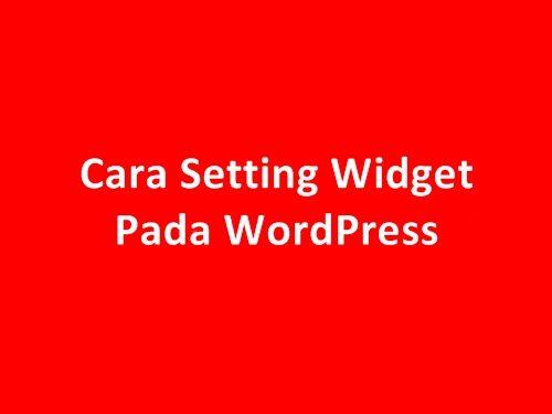 Cara Setting Widget Pada Wordpress