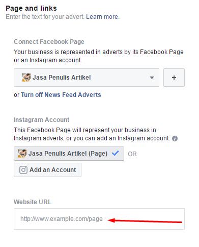 Pilih fanspage dan isi URL