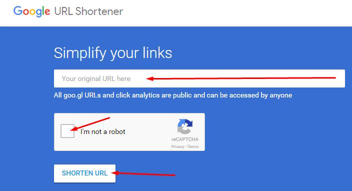 Tampilan google short URL